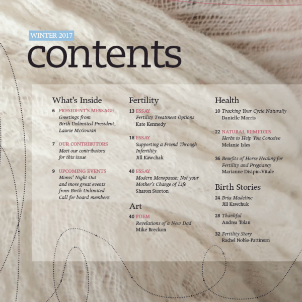 Birthing Magazine 2017 Winter Contents