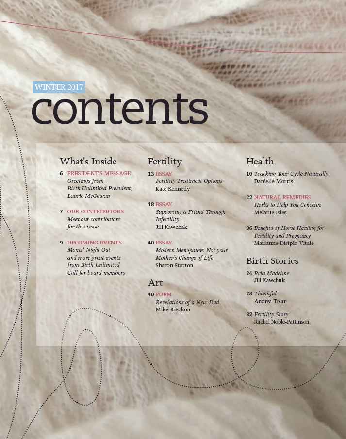 Birthing Magazine 2017 Winter Contents