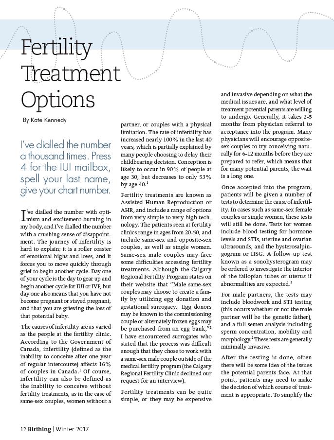 Birthing Magazine 2017 Winter Fertility Treatment Options