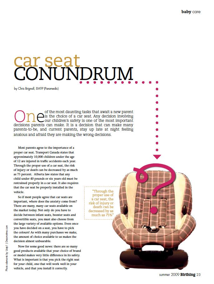 Birthing Magazine 2009 Summer Car Seat
