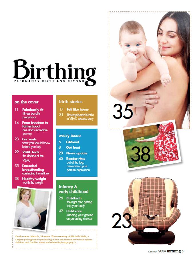 Birthing Magazine 2009 Summer Index