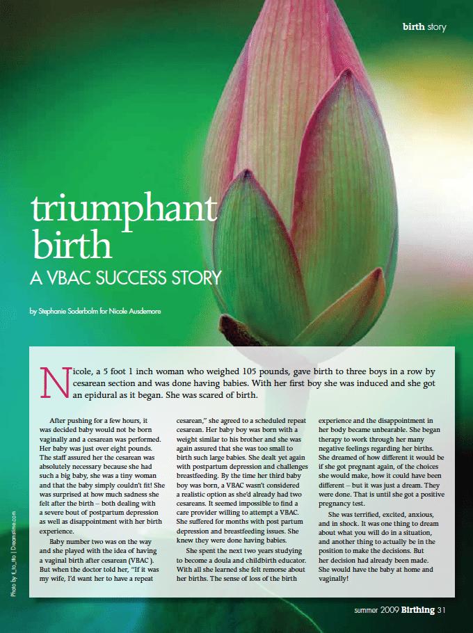 Birthing Magazine 2009 Summer VBAC