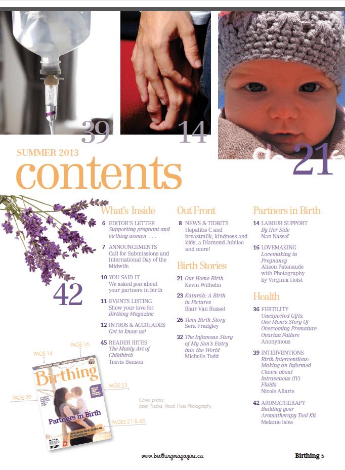 Birthing Magazine 2013 Summer Content
