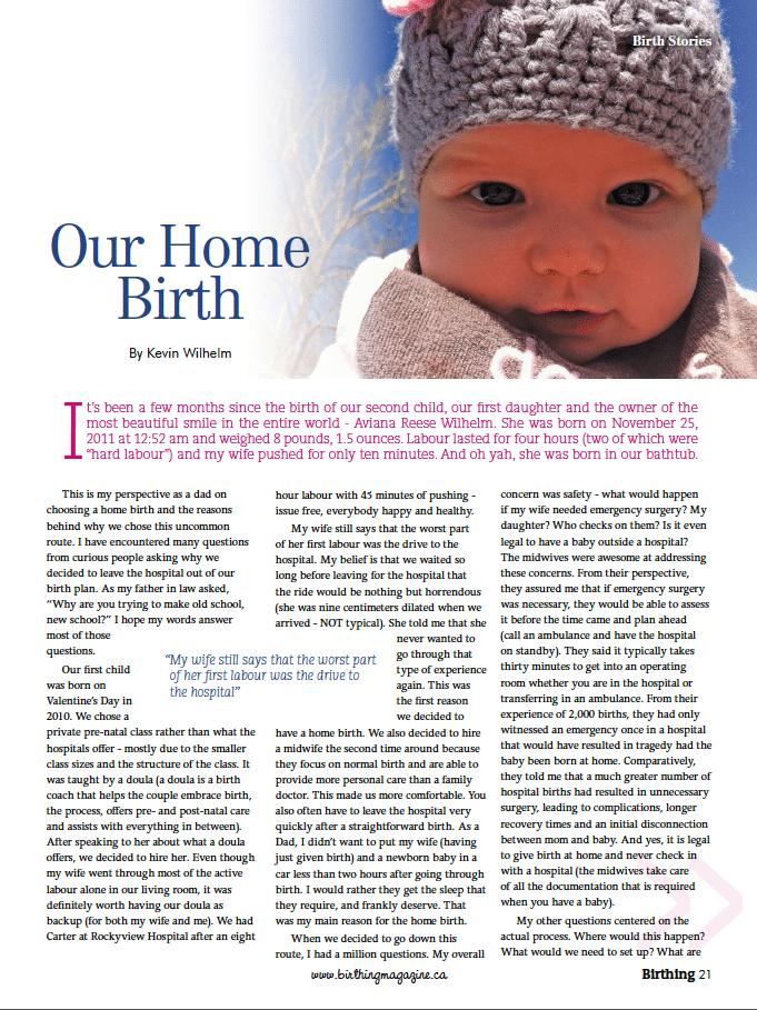 Birthing Magazine 2013 Summer Home Birth