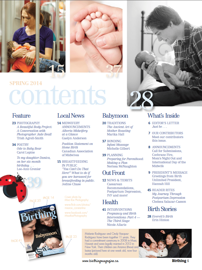 Birthing Magazine 2014 Spring Contents