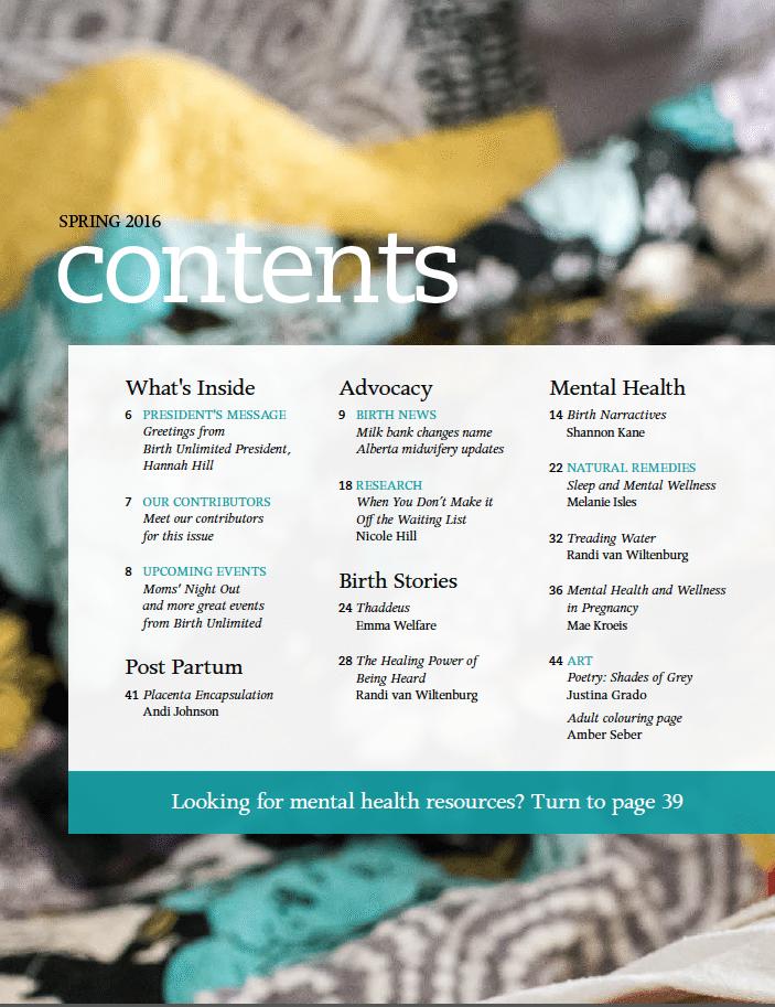 Birthing Magazine 2016 Spring Contents