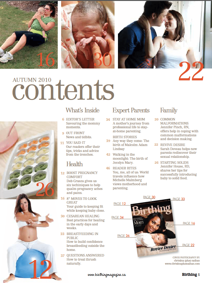 Birthing Magazine Fall 2010 Contents