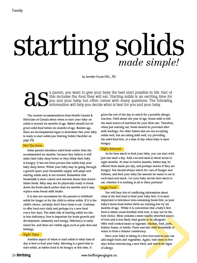 Birthing Magazine Fall 2010 Starting Solids