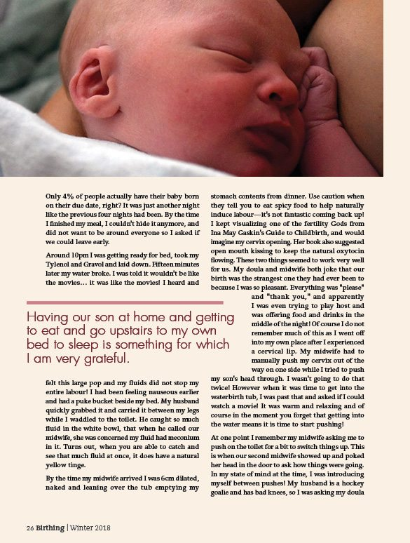 Birthing Magazine: Winter 2018 Sample 2